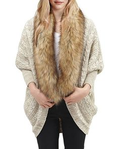 Casual Faux Fur Spliced Collarless Long Sleeve Knitted Thick Cardigan For Women
