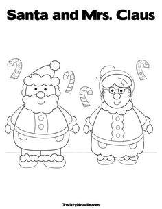 So Cute Santa And Mrs Coloring Page