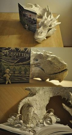 Smaug coming out of the pages of The Hobbit // I am torn between being awestruck at the level of skill, and hating whoever did this to a wonderful book.