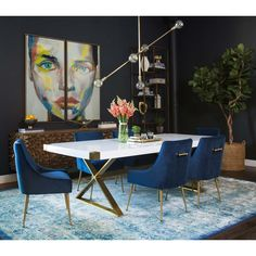 Looking for modern dining room ideas with furniture and decor? Explore our beautiful dining room ideas for interior design inspiration. Contemporary Home Decor, Modern Decor, Rustic Decor, Modern Art, Salon Interior Design, Modern Dining Table, Dining Tables, Side Tables, Contemporary Dining Chairs
