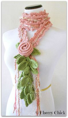 Lariat Scarf, Crochet Scarf, Pink Cottage Rose Scarf Hand crocheted by Vintage Cherry Shop