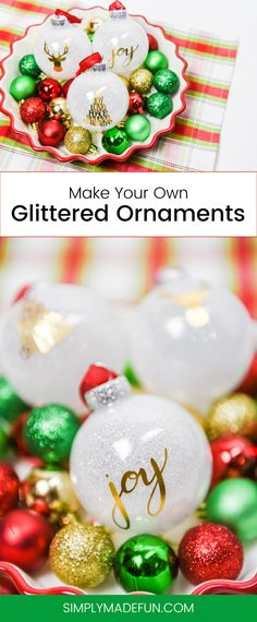DIY Glittered Ornaments - I love creative Christmas trees and making my own holiday decor. So I jumped at the chance to make my own Christmas ornaments, and they were so easy to DIY! You only need less than 5 materials and 20 minutes to make your own.