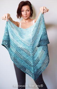 Crochet Poncho Teal Tenacity Crochet Shawl Pattern - A Positive Twist on Yarn Crochet Prayer Shawls, Crochet Shawls And Wraps, Crochet Scarves, Crochet Clothes, Knit Crochet, Crochet Hats, Crochet Sweaters, Crochet Blouse, Shawl Patterns