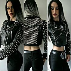 WEBSTA @ painkillerclothing - NEW. Serious heavy metal! Aiming for a collection release next weekend including this jacket. (Relax, it's a wig. Me and my hair aren't co-operating today)www.painkillerclothing.com/products#painkillerclothing #studs #leather #metalclothing #altfashion #handmade #sewing #leatherjacket
