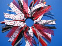 Softball Baseball Hair Pony O Red and Black Glitter Hair Scrunchie Hair Bun Ribbons Team and School Colors Cheer Bows. $5.50, via Etsy.