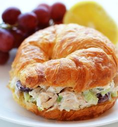 Chicken Salad: chicken, mayo, onions (opt), nuts, grapes or dried cranberries and/or diced apple, celery,  sprouts, micro greens or lettuce, croissant, bread or roll