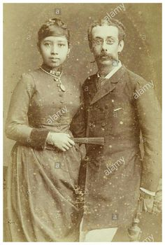 Studio Portrait of a couple, a Javanese woman and a European man, Woodbury & Page, 1890-1915.