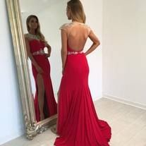 Backless Beading Charming Real Made Prom Dresses,Long Evening Dresses,Prom Dresses