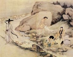 (Korea) 계변하화 by Shin Yun-bok ? Korean Painting, Chinese Painting, Chinese Art, Korean Art, Asian Art, Korean Traditional, Traditional Art, Korean Picture, Traditional Paintings