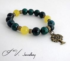 Chrysocolla & Agate Tree of Life Bracelet Gemstone by IvJewellery