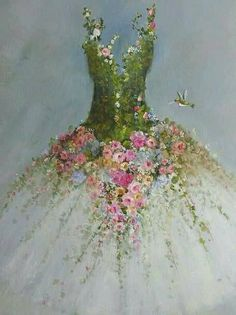 Roses Tutu painting RESERVED for Hilda original ooak ballerina fantasy fairy costume gown Hummingbirds - art projects - Natural Christmas Tree, Christmas Tree Dress, Christmas Tree Decorations, Christmas Crafts, Fairy Decorations, Floral Fashion, Fashion Art, Latest Fashion, Fashion Trends