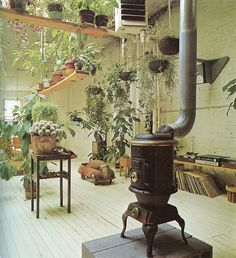indoor hanging plants & a wood burning stove Hanging Plants, Indoor Plants, Hanging Gardens, Patio Plants, Indoor Gardening, Potted Plants, Plantas Indoor, Old Stove, Antique Stove