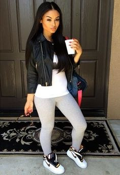 Leggings Outfit. Nike Sneakers Outfit. Sporty. Urban Fashion. Swag. India Westbrooks Style