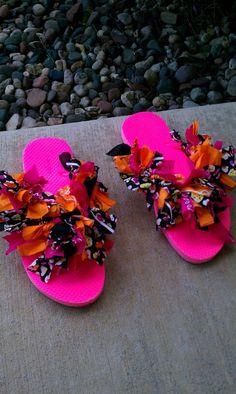 Girls Birthday Party Craft - Bandana Flip Flops