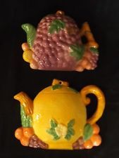 2 Vintage wall hangings/fruit teapots