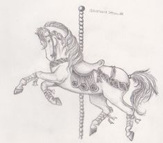 traditional carousel horse tattoo outline - Google Search