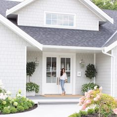 Our Exterior Home Reveal - Fraiche Living White Exterior Paint, White Exterior Houses, Exterior Paint Colors For House, Grey Houses, Modern Farmhouse Exterior, Paint Colors For Home, White House Exteriors, Grey Homes Exterior, Exterior House Paint Colors