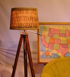 Eco Friendly Burlap Coffee Sack Lamp Shade Upcycled by MableDear, $58.00