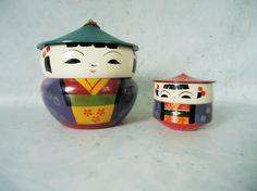 Mid Century Kokeshi Stacking Boxes  Vintage by SwirlingOrange11, $98.00