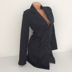 Charlotte Russe Black Long Sleeve Button Dress or Coat/Trench Lined Jacket S  #CharlotteRusse #QuiltedCoats