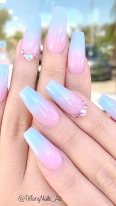 Blue Ombre Nails, Purple Acrylic Nails, Baby Blue Nails, Acrylic Nails Coffin Short, Acrylic Spring Nails, Blue Matte Nails, Pink Acrylics, Nude Nails, Baby Shower Nails