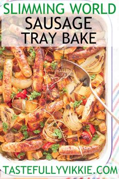 How to Make Low Syn Slimming World Sausage Tray Bake using lean Heck Spring Chicken Sausages astuce recette minceur girl world world recipes world snacks Slimming World Vegetarian Recipes, Slimming Recipes, Healthy Diet Recipes, Healthy Eating, Cooking Recipes, Healthy Food, Healthy Chicken, Yummy Recipes, Healthy Life