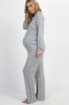 PinkBlush - Where Fashion Meets Motherhood Maternity Pajama Set, Maternity Dresses, Long Sleeve Pyjamas, Sweater Set, Pink Blush Maternity, Grey Stripes, Her Style, Blush Pink, Heather Grey