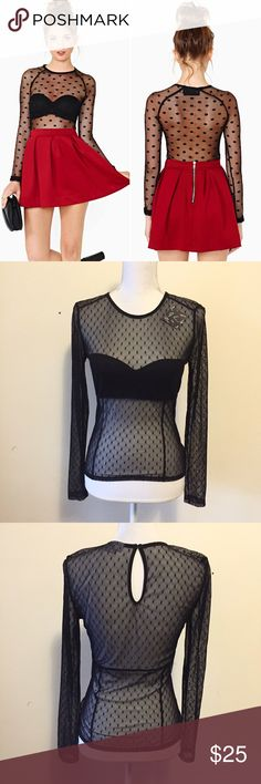 Nasty Gal Seeing Spots Mesh Top Totally cute sheer black mesh top featuring a black dot print and scoop neckline. Unlined. Size medium. Chest and length (shoulder to hem) measurements shown in last photo. New with tags! Nasty Gal Tops