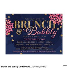 Brunch and Bubbly Glitter Watercolor Shower Invite Gold faux glitter, confetti dots, modern floral blooms and a watercolor background come together for this beautiful shower invitation. Customize invitations for your weddings. Bridal Shower Cards, Bridal Shower Decorations, Bridal Shower Invitations, Bridal Showers, Brunch Invitations, Glitter Invitations, Invites, Lavender Wedding Invitations, Watercolor Wedding Invitations