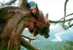 Julia Butterfly Hill hugs an ancient redwood tree named Luna by activists 180 feet above the ground as the Eel River winds through the valley below near Stafford in early 1998. She spent over two years living in the roughly 1,000-year-old tree.