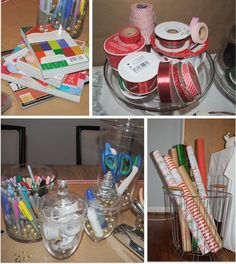 A Christmas Gift Wrapping Party | Modern Eve-- I like the idea of putting wrapping paper in a basket/trash bin for storage
