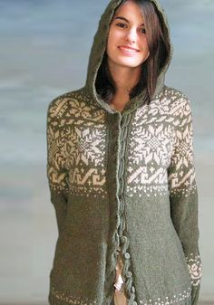 Perfect for an Icelandic princess, fitted nordic hoodie with stranded colorwork, a cabled button band and kangaroo pockets.