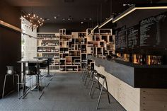 Industrial interior design bar with architecture news bysuto is one of images from wine bar interior design. This image's resolution is pixels. Find more wine bar interior design images like this one in this gallery Bar Interior Design, Cafe Interior, Cafe Design, Store Design, Bistro Interior, Design Hotel, Interior Ideas, House Design, Cafe Restaurant