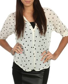 Polka Dot Print Shirt from WetSeal.com