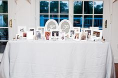 Photo Table of Family Members' Wedding Photos