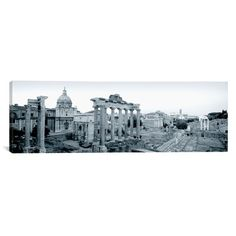 East Urban Home Panoramic Ruins of an Old Building, Rome, Italy Photographic Print on Canvas in Black and White Size: