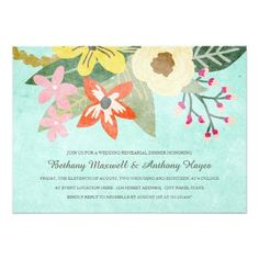 Watercolor Wedding Rehearsal Dinner Beautiful Blooms Rehearsal Dinner Invitation
