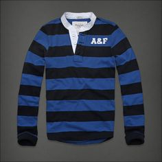 SALE NWT Abercrombie & Fitch Mens Orebed Brook Henley Shirt Blue L, XL