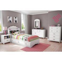 South Shore Glitter Mates Kids Bed - White (Twin)