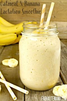 Oatmeal and Banana Lactation Smoothie #boobiesmoothie #lactation #breastfeeding