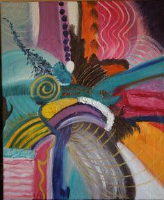 VENDUE  Peinture à l'Huile Abstraite Moderne Patchwork Coloré 45 x 56 cms (EN COURS DE SECHAGE) : Peintures par mimipeint