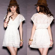 New Fashion Star Style modern time Women Lace Tunic See-through Sexy Deep V-neck Mini Dress #010 SV001384