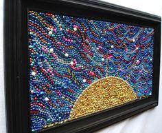 Mardi Gras Bead Mosaic | Original Mardi Gras Bead framed Sunrise mosaic, Christmas, gold and ...