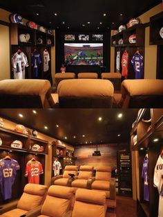 Love this idea for a man cave instead of a theater room. Sports Man Cave, Soccer Sports, Ultimate Man Cave, Man Cave Basement, Appartement Design, Home Theater Rooms, Cinema Room, Man Cave Home Bar, Woman Cave