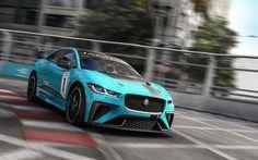 Scarica sfondi Jaguar I-Ritmo, eTrophy Racecar, 2018, il tuning, I-Ritmo, pista da corsa, turchese Jaguar