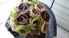 Handmade burlap wedding bouquet DIY avocado brown natural woodland rustic fall country shower bridal shower project mother daughter vintage by ANGIESZZZCRAFTS on Etsy