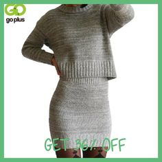 GOPLUS 2017 Winter 2 Pieces Sweater Dress Set Women Long Sleeve Office Wear Casual Gray Pullover Knitted Dresses Clothing Suit