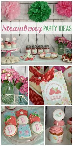 Head out to the farm with this sweet and chic vintage strawberry girl birthday party with cookies and cupcakes!  See more party ideas at CatchMyParty.com!