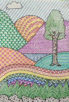 Draw art drawings for kids, kids art class y landscape art. Art Drawings For Kids, Drawing For Kids, Drawing Art, Children Drawing, Kids Art Class, Art For Kids, Line Art Projects, Art Education Projects, Landscape Art Lessons