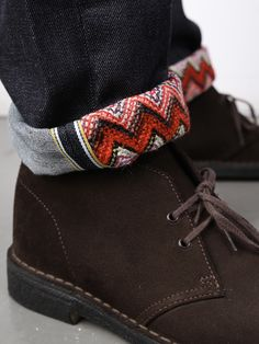 Chukka boots and this print on the inside cuff kill it as a combo